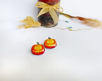 Halloween earrings / pumpkin earrings / halloween pumpkin / halloween jewelry / fall earrings / autumn earrings / halloween gift idea