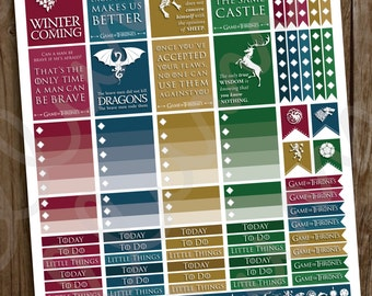 Game of Thrones™ Inspired Planner Stickers | PRINTABLE Instant Download | GoT Stickers | Game of Thrones™ TV Series | fits Erin Condren