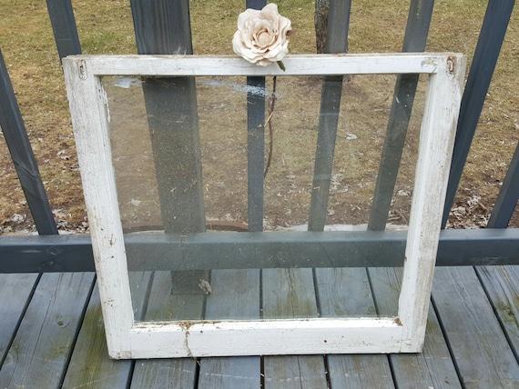Vintage Old Wood Window Frame Single Pane Farmhouse Country