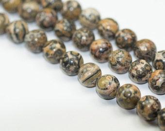 Leopardskin Jasper - Full Strand - 8 mm, Round, Natural - LSJ-R-8