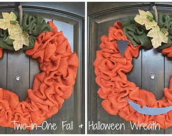 Two in One Burlap Fall and Halloween Wreath