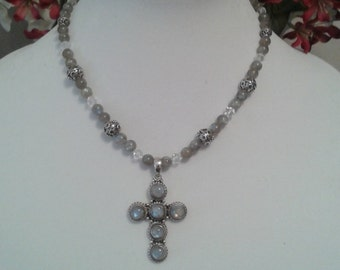 Genuine moonstone and sterling silver beaded necklace with cross pendant. Hand made peice of fine jewelry.