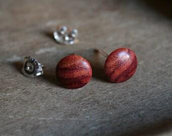1 pair wood Earrings from Bahia rosewood wood 8 mm plug/nut 925 Silver