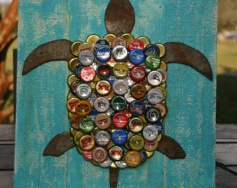 Bottle Cap Wall Art crab wall art with mixed bottle caps on pallet wood