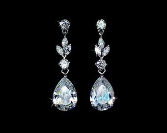 Wedding Earrings Сlear stone wedding earrings Zirconia Earrings Wedding Jewelry  Bridesmaid Earrings  Bridal Earrings  Wedding Accessory