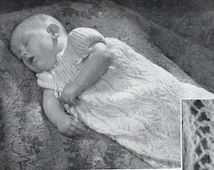 Entire book of vintage baby knits, 1950s knitting patterns, 13 PDF patterns, jackets, coats, pixie hood, shawl, pram set, christening dress