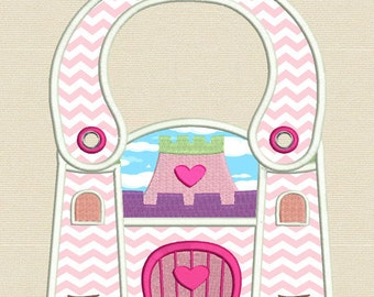Princess Castle  - Completely made in the hoop Baby Bib (5X 7 Hoop) Machine embroidery design