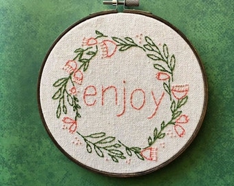 Embroidered Floral Wreath Hoop, Inspirational Word Hoop Art, Embroidery Home Decor Gift, Stitched Flower Circle, Custom One Little Word Art
