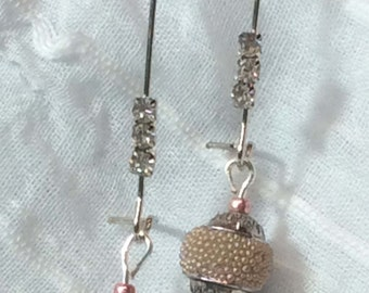 Soft Taupe and Dusty Rose Earrings - handmade
