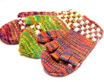 SUMMER SALE 12% OFF* Hand Knitted Colorful Alpaca wool Gloves, Convertible Mittens, Fingerless Gloves, Light and Warm