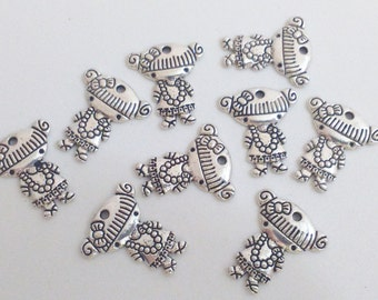 9x silver girl pendant 23 mm charm findings supplies necklace loop
