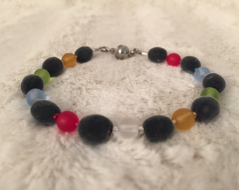Velvet RARE Hawaiian Seeds/ Rainbow colors glass beads/ Exotic Mgambo Seeds/ Bracelet