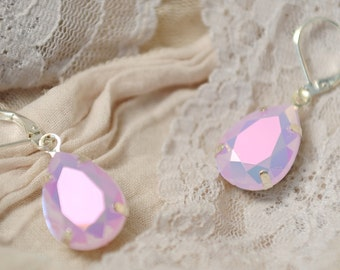 pale pink earrings soft pink earings pastel pink earrings blush pink earings bridesmaid earrings pale pink jewelry opal earrings