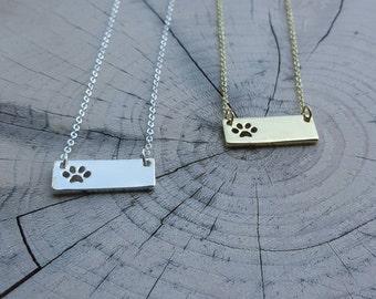 PAW Print Bar Necklace!! Animal lovers, jewelry.