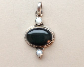Sterling Silver Obsidian and Pearl Pendant 1.5""