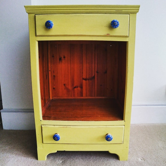 Yellow Kitchen Storage: Quirky Yellow Pine Storage Unit Two Drawers Cabinet Small