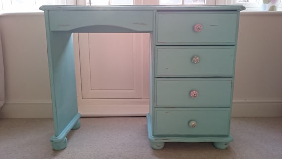 Turquoise Dressing Table Vanity Unit Shabby Chic By ShellesChic