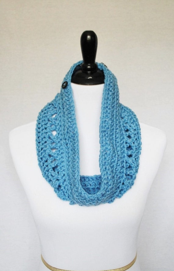 SALE! Blue Button Cowl, Crochet Wrap Scarf, Neck Warmer, Button Infinity Scarf, Lacy Crochet Cowl, Crochet Collar Scarf - Light Pastel Blue