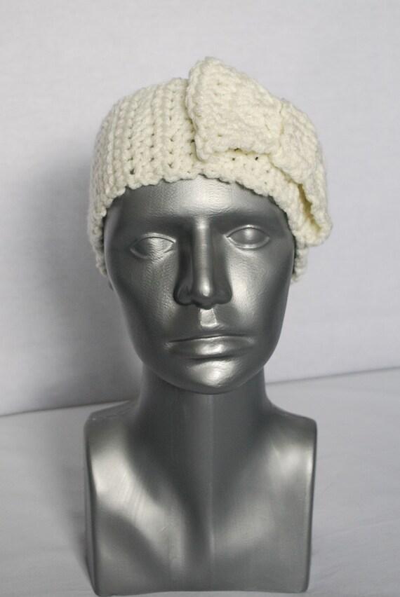 Cream Crochet Bow Ear Warmer, Head Wrap, Winter Headband - Beige, Off White