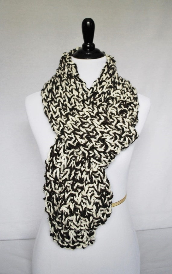 SALE! Brown and Cream Knit Scarf, Neck Warmer, Long Wrap Scarf, Knit Cowl
