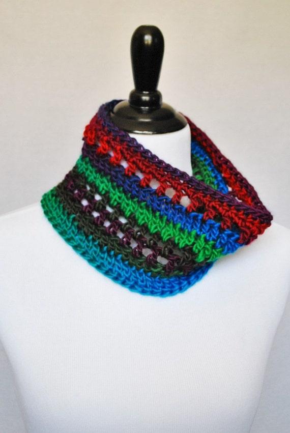 Red, Blue, Green, Purple Crochet Cowl, Short Infinity Scarf, Rainbow Neck Warmer - Multi-Colored, Bright