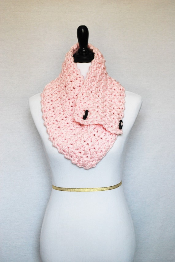Pink Button Cowl, Light Pink Crochet Scarf, Crochet Neck Warmer, Light Pink Button Scarf, Crochet Collar, Wrap Scarf