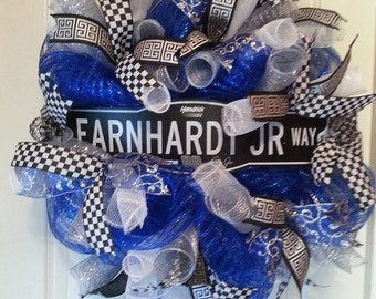 SALE SAVE 20 ,  Racing Wreath, Boogity Boogity,  Nascar Wreath, Race Fan,  Dale Jr.  , Unique Door Wreath, Checkered Flag, Gina Gray Designs