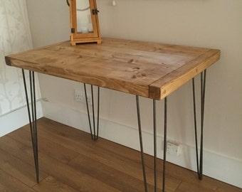 Rustic Pine Kitchen Dining Side Table Metal Hairpin Legs FREE UK DELIVERY