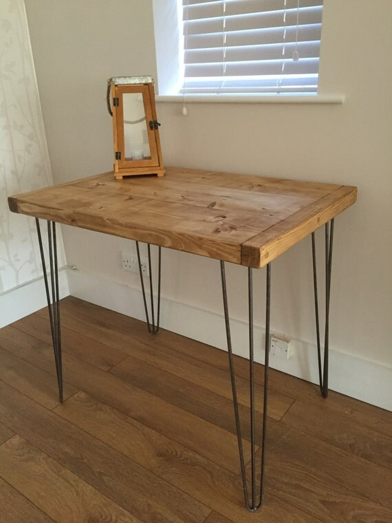 Rustic Pine Kitchen Dining Side Table Metal Hairpin Legs Free