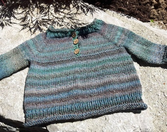 Hand Knit Henley Raglan Pullover Washable Wool Blend Sock Yarn Unisex Baby Sweater