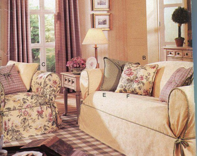 FREE US SHIP Butterick 143 3877 Slipcovers for Couch Sofa Ottoman Envelope Pillows Uncut Window Treatment