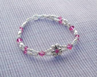Swarovski crystal and silver 2-strand bracelet