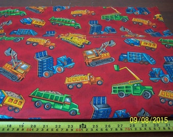 Playland Trucks on Red, 100% Cotton, Sold by the Yard