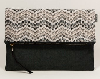 Clutch. Purse. Fold Over Clutch. Evening bags. Slouchy clutch. Black and grey