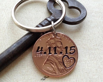 Personalized 1 Year Anniversary Keychain/ Hand Stamped Penny/ 2016 2017 Couple Gift/ Wedding /1 Year Anniversary/ Gift for Her Gift For Him