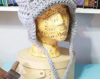 Handmade Crochet Earflap Beanie with Tassels and Braids