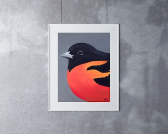 Baltimore Oriole Print, Original Art, Giclee Print, Oil Painting, Bird Painting, Oriole Painting, Wildlife Painting, Nature Painting