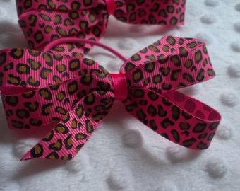 Hot Pink Leopard Print Pinwheel bows Set of 2