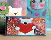 Teddy Heart. Hand painted. Small plaque. Home decor. Wall decor. Door hanger