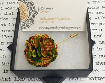 Kente Cloth Lapel Flower - African - Mens Accessories - Lapel Flower - Kente Cloth - African Print Lapel Flower