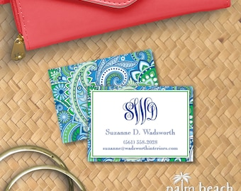Marina Paisley Calling Cards - Boho Paisley Pattern Custom Contact Cards - Casual Business Card - Preppy Personalized Mommy Card