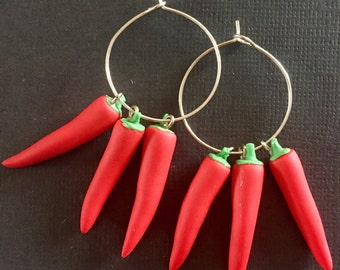Chili Pepper Earrings, chili pepper jewelry, polymer clay chili pepper, Christmas, miniature food