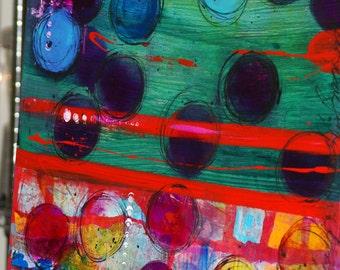 "Art Modern Mixed Media Art Acrylics and Inks on Large Canvas ""Circles"""
