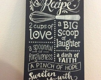 Our Family Recipe - wooden sign