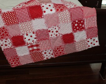 Classic Red & White Rag Quilt