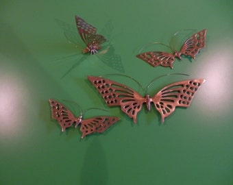 Sale! Vintage Brass Butterflies, Solid Brass Made in Korea; Butterfly Wall Décor