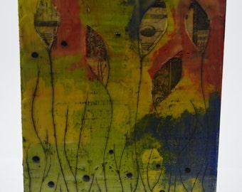 Hidden Swirls - an 8x10 encaustic art piece