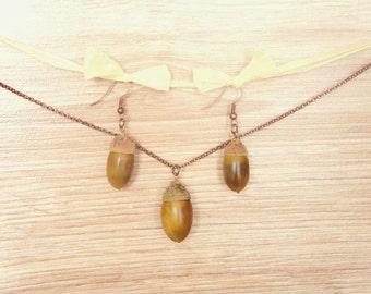 Gift Set of Dangle Acorn Earrings with Acorn Pendant Necklace