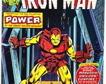 Iron Man 69 comic book. Birthday Party Gift, Mandarin,  Avengers, Tony Stark, The Invincible, Bronze Age art. 1974 Marvel Comics in VF+(8.5)