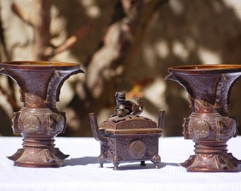 Burning Chinese perfume and assorted vases - Vintage